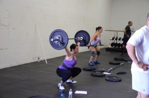 Sarah on the overhead squat