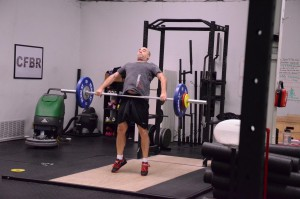 Snatch training at Broad Ripple Fit Club in January. That's a 68 kg snatch (me: 85 kg).